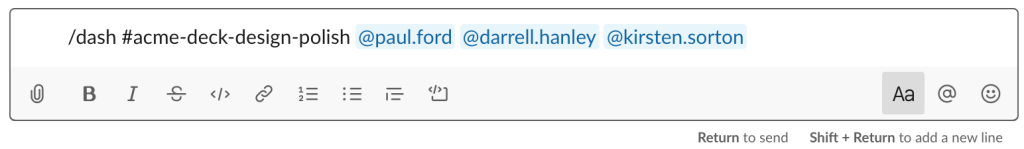 modal creating a new /dash channel in Slack