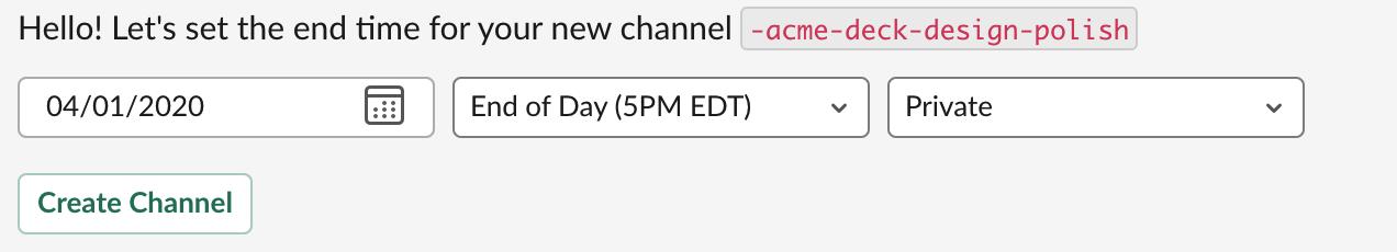 modal setting deadline for the Dash channel in Slack