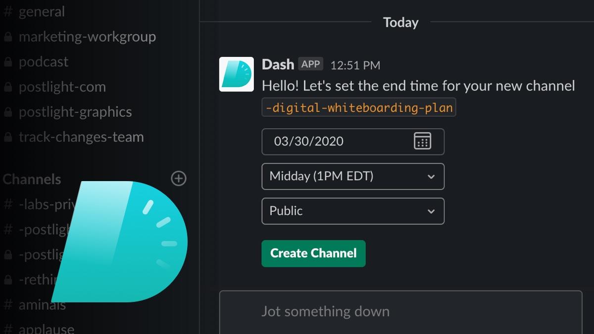 new Dash channel in Slack