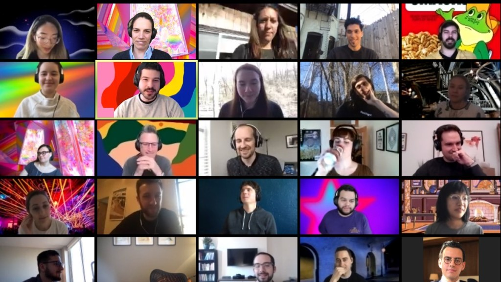 group of team members featured on a Zoom call