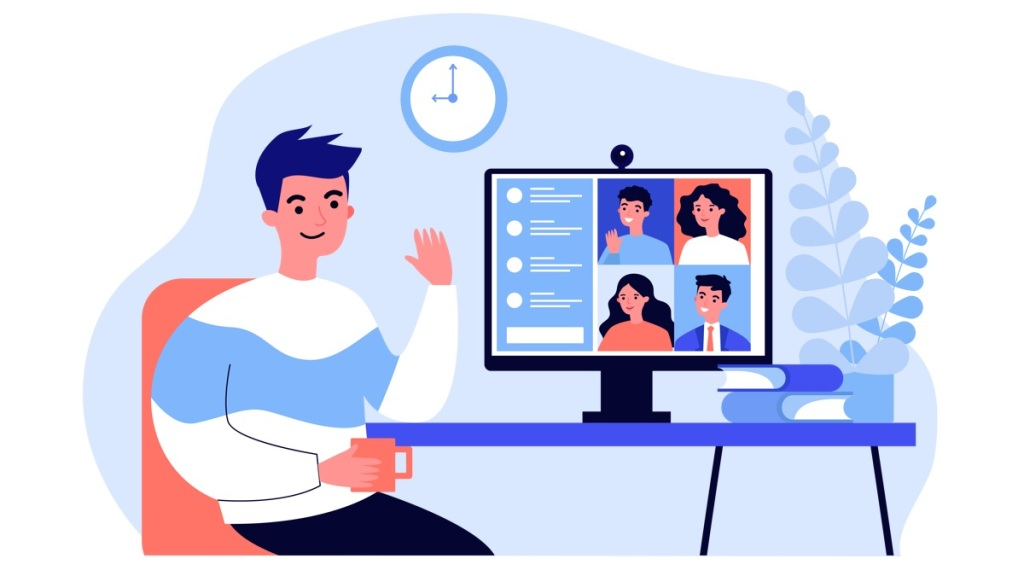 person meeting with teammates on video call