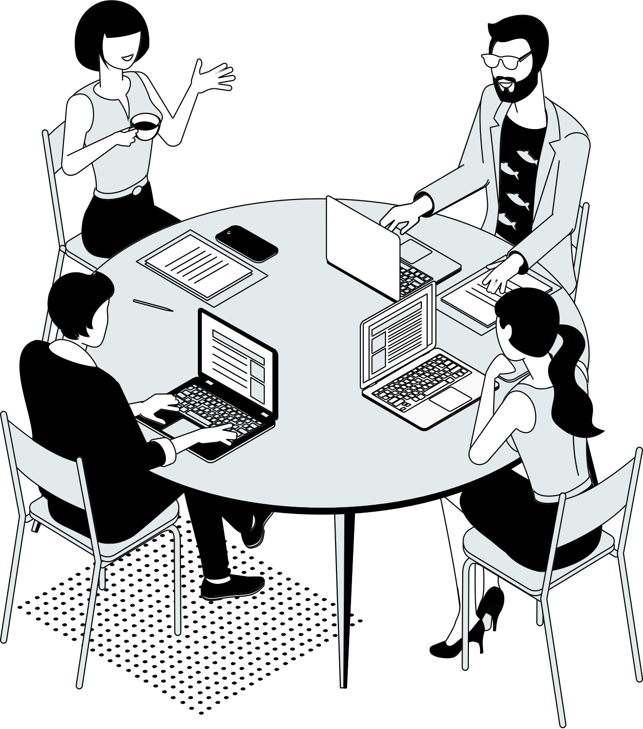 Illustration of people around a table on laptops