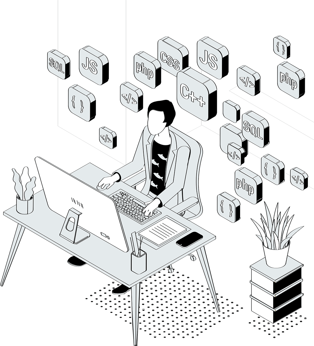 Illustration of person working at a computer