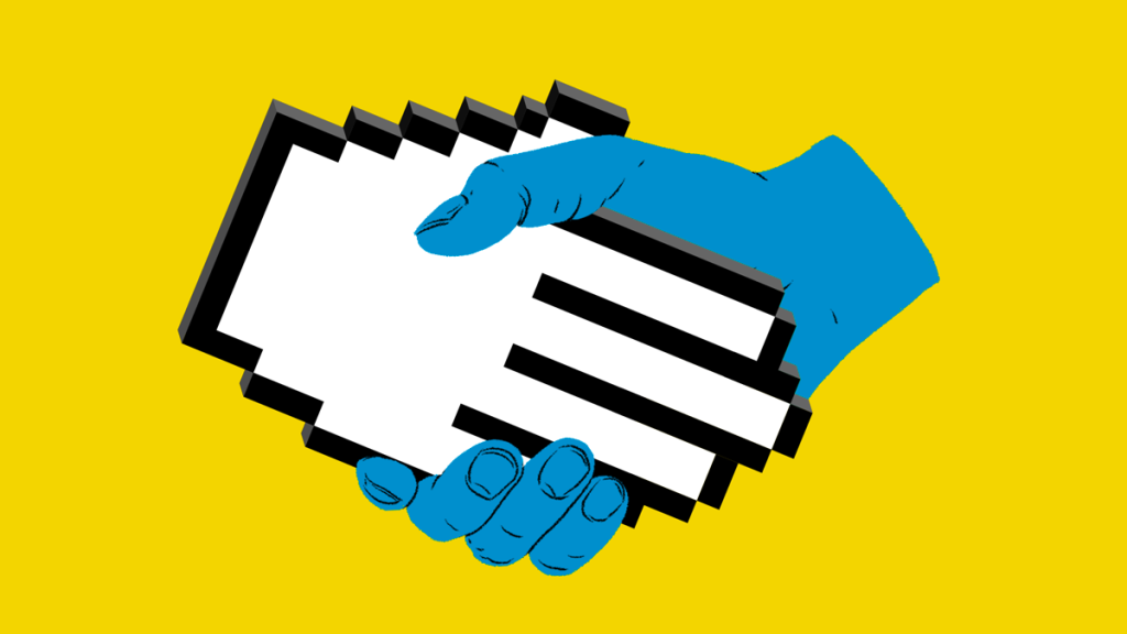 Two hands clasping: one a digitcal hand icon and the other a realistic human hand coming together.