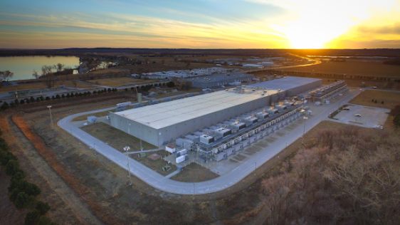 Expansive Google data center in Iowa that processes huge amounts of data.