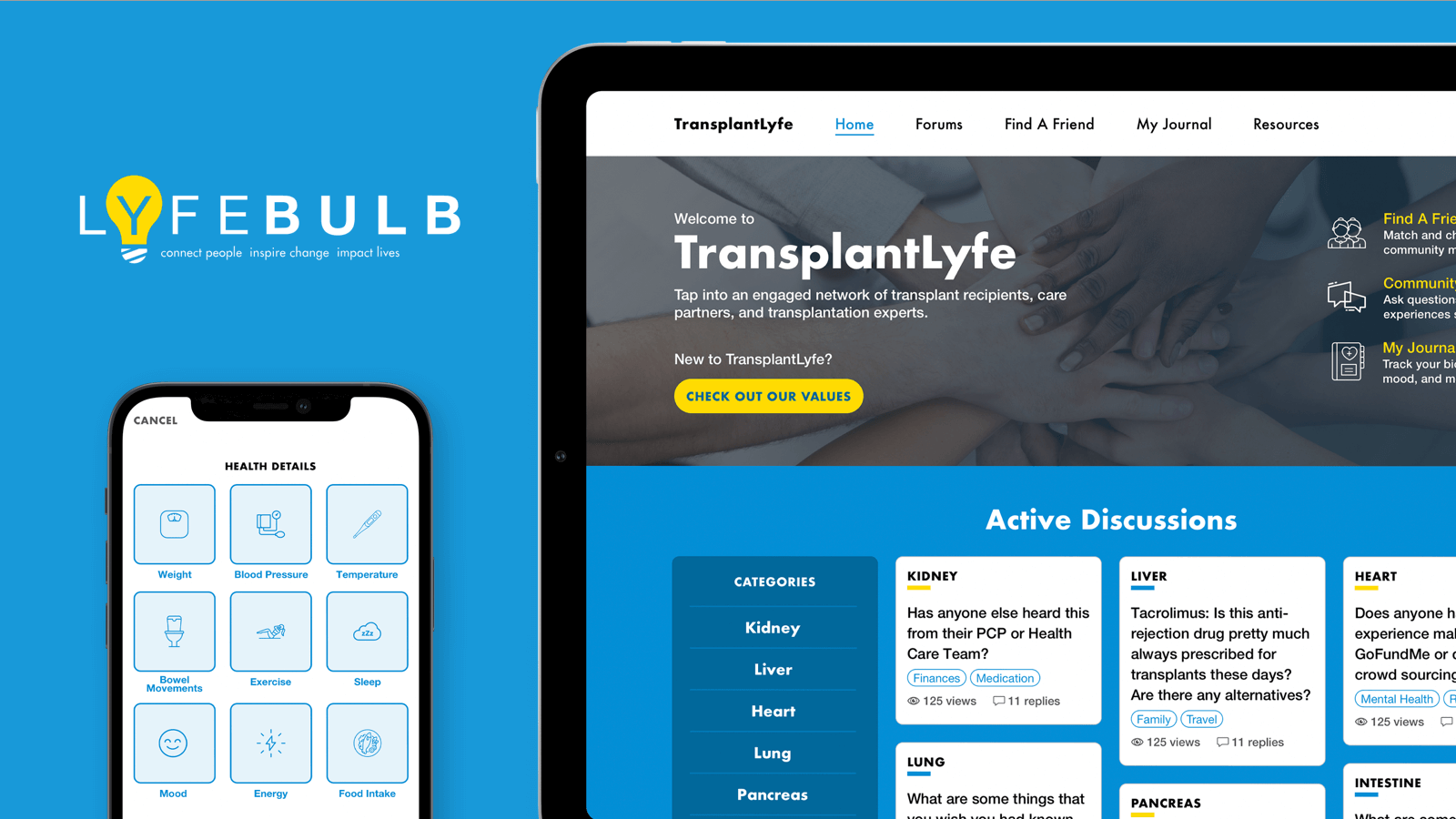 Images of Lyfbulb app and features on mobile devices