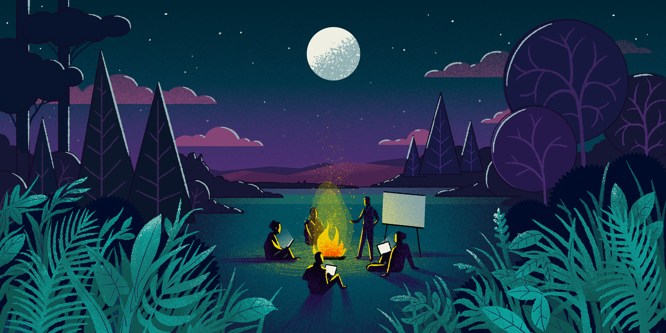 Figures gathered around a campfire outdoors at night with one figure giving a presentation