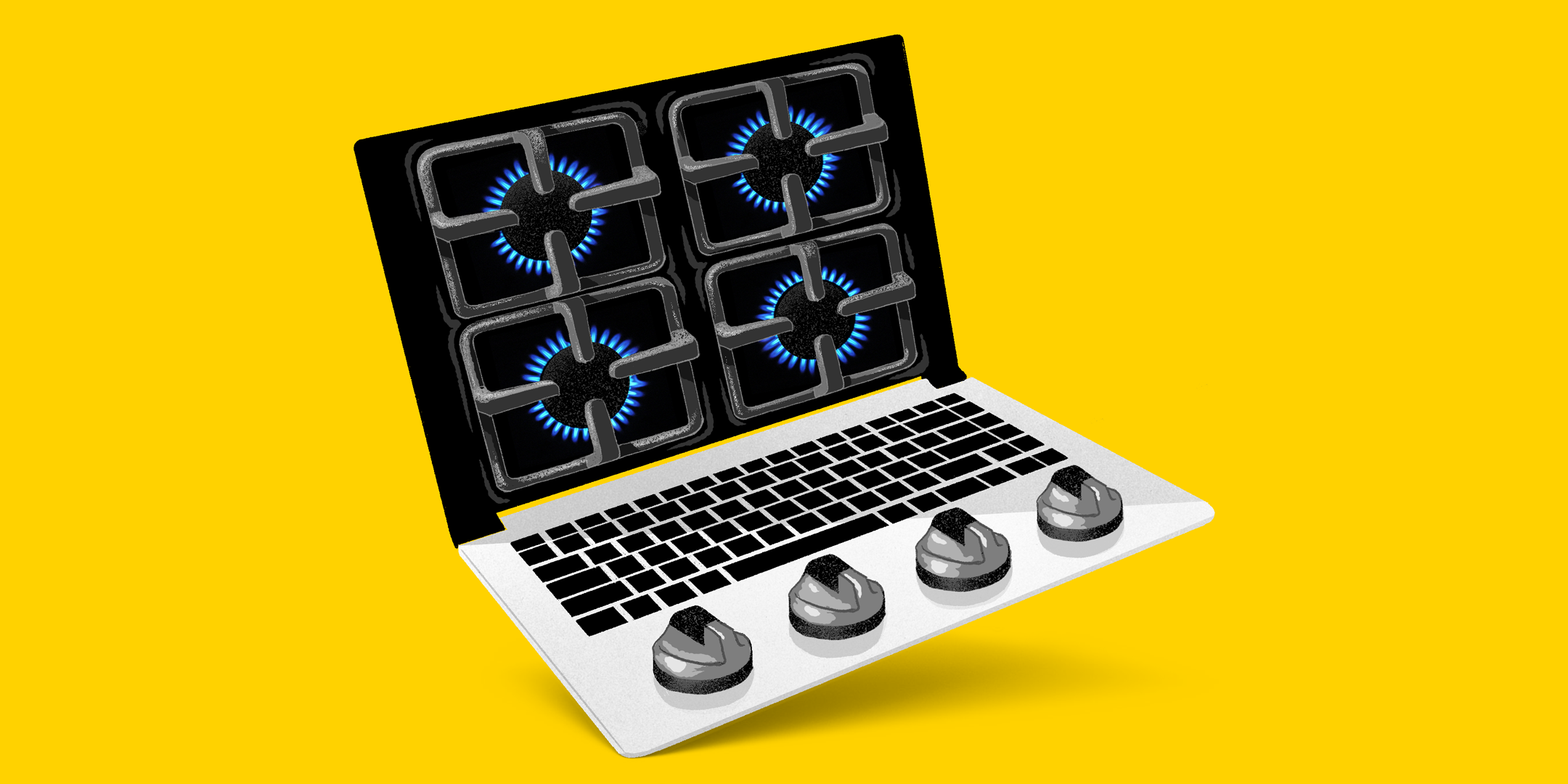 Laptop with stovetop burners on the screen and stovetop knobs on the base of the laptop