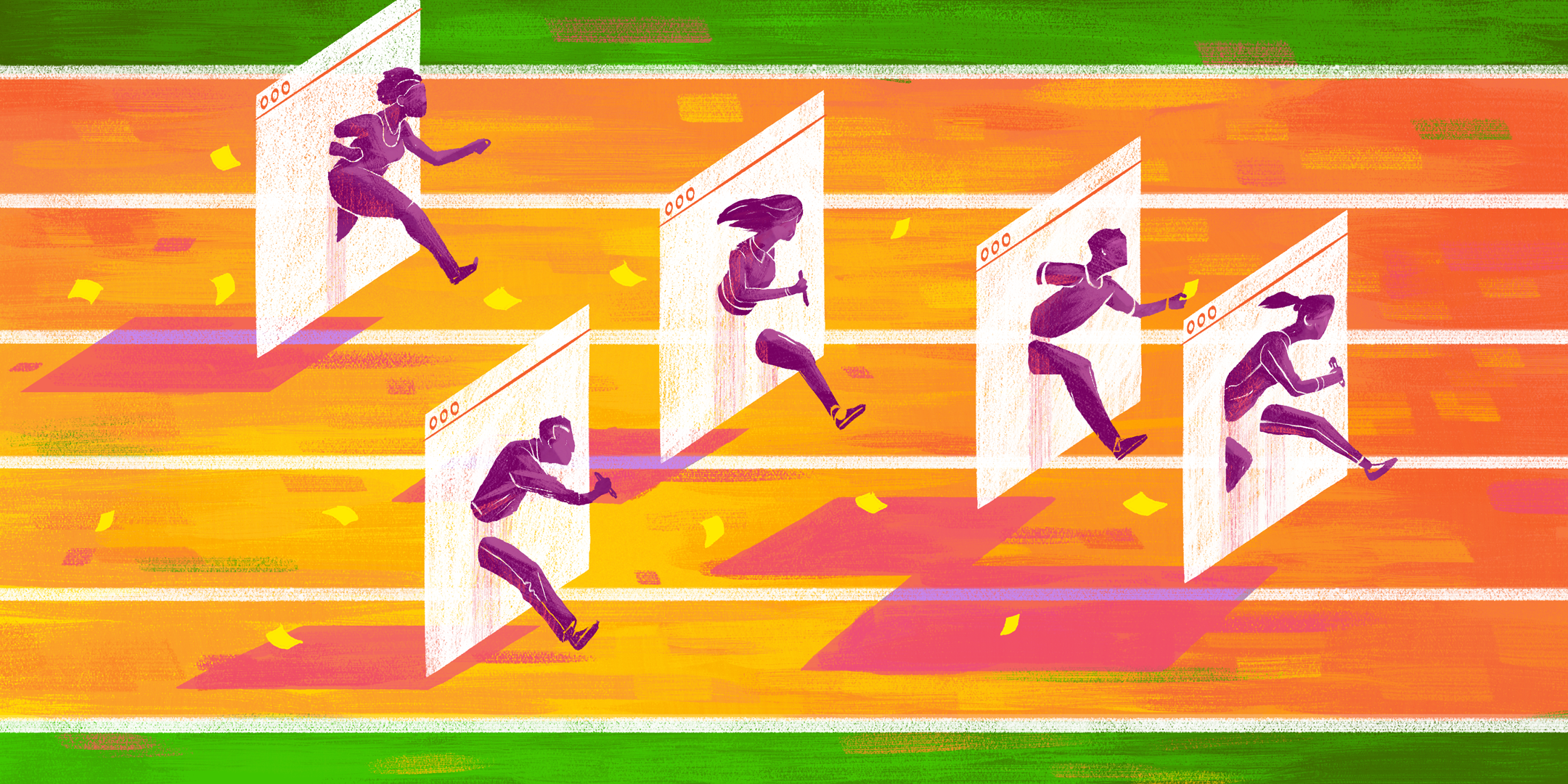 People sprinting on a track as they each break through a computer screen