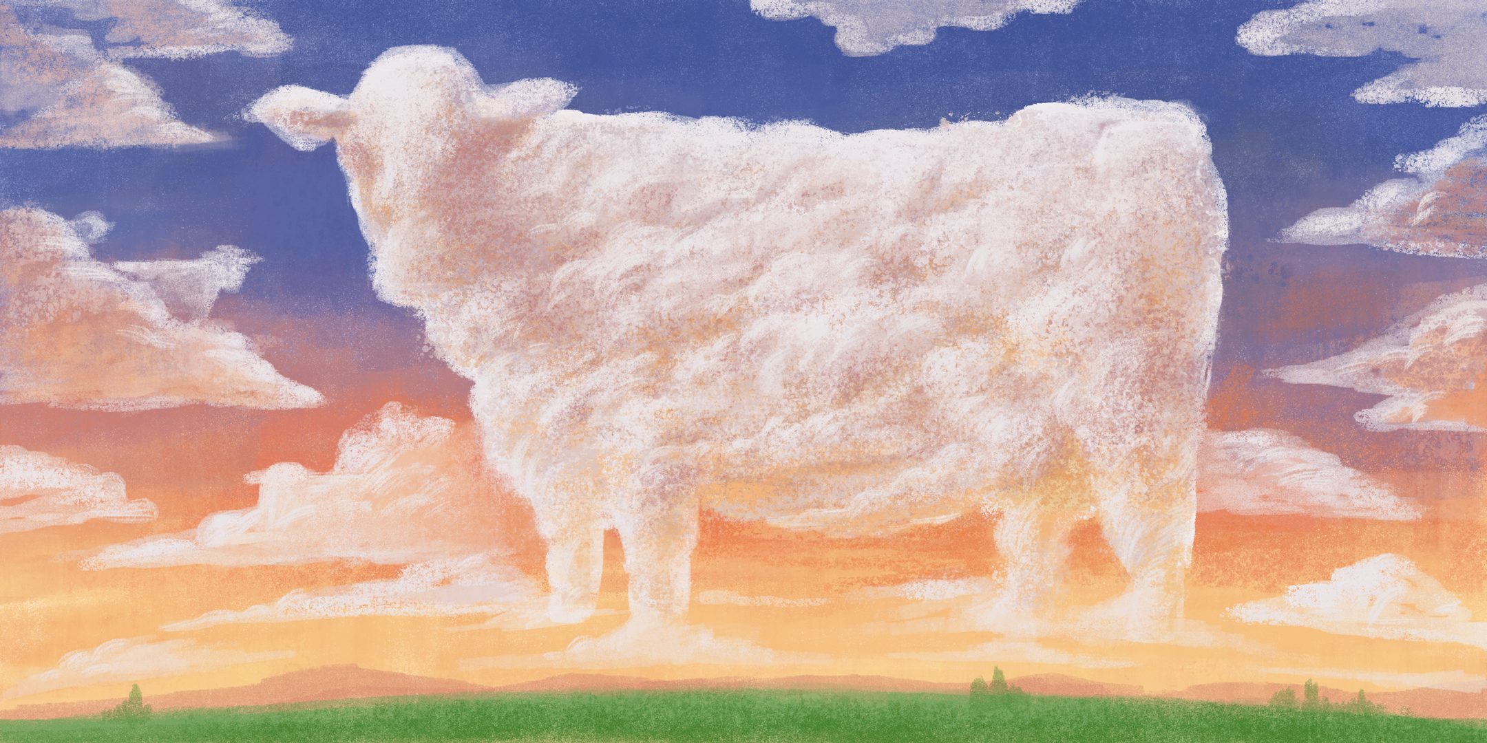 Abstract image of a fluffy cow made of clouds in a pastel sky and pasture