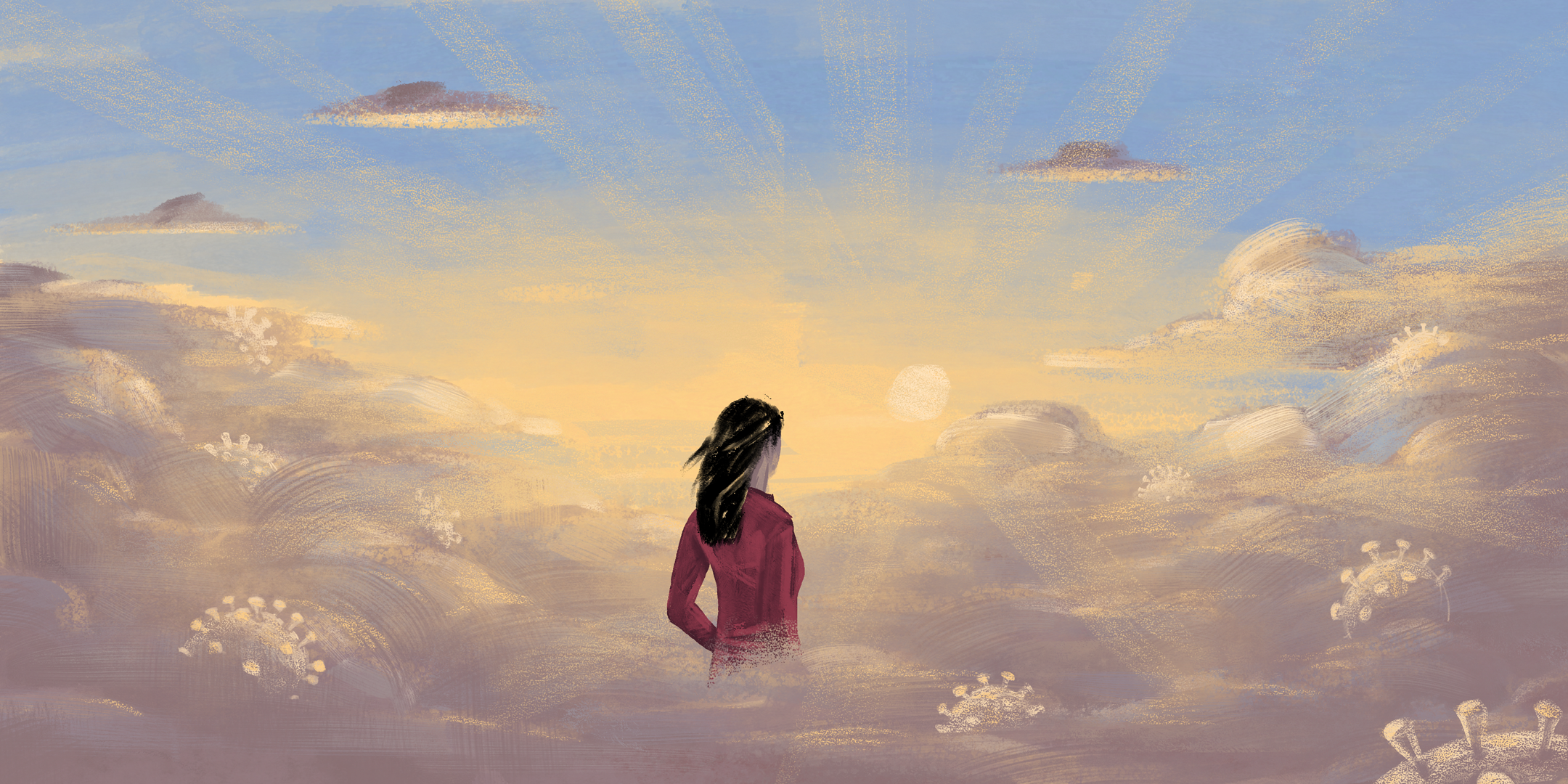 Woman standing in clouds, looking out over horizon