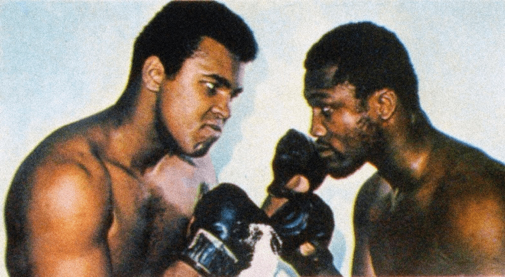 Muhammad Ali and Joe Frazier facing off in a boxing match.