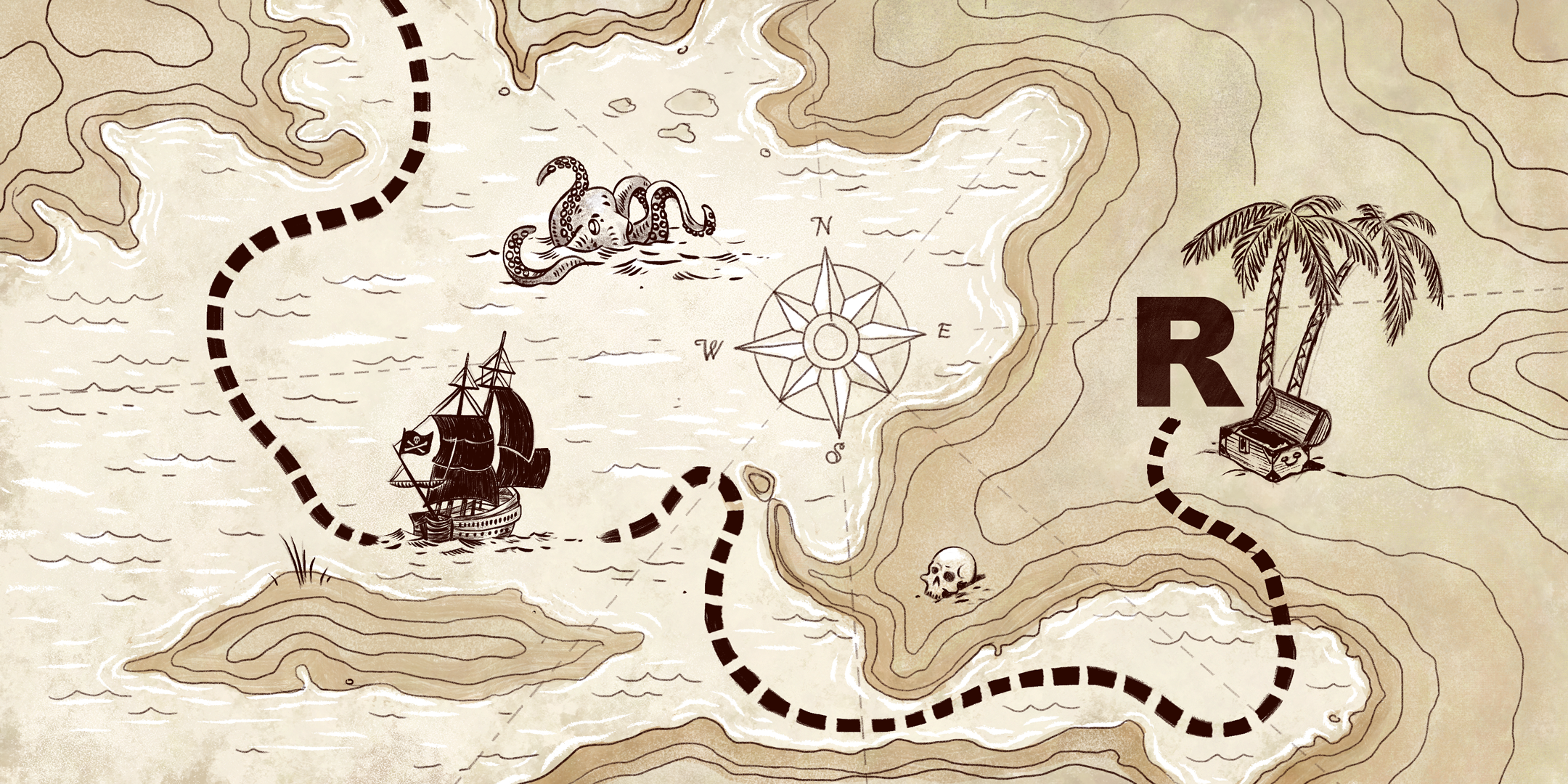 """Treasure map with a dotted line leading to a bold letter """"R"""""""