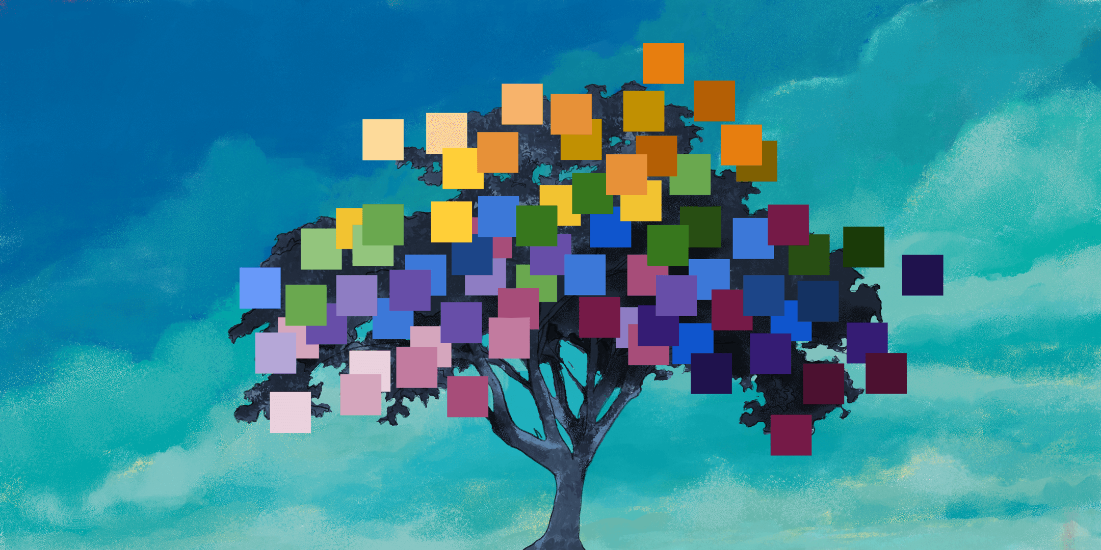 Tree covered in colorful pixel squares