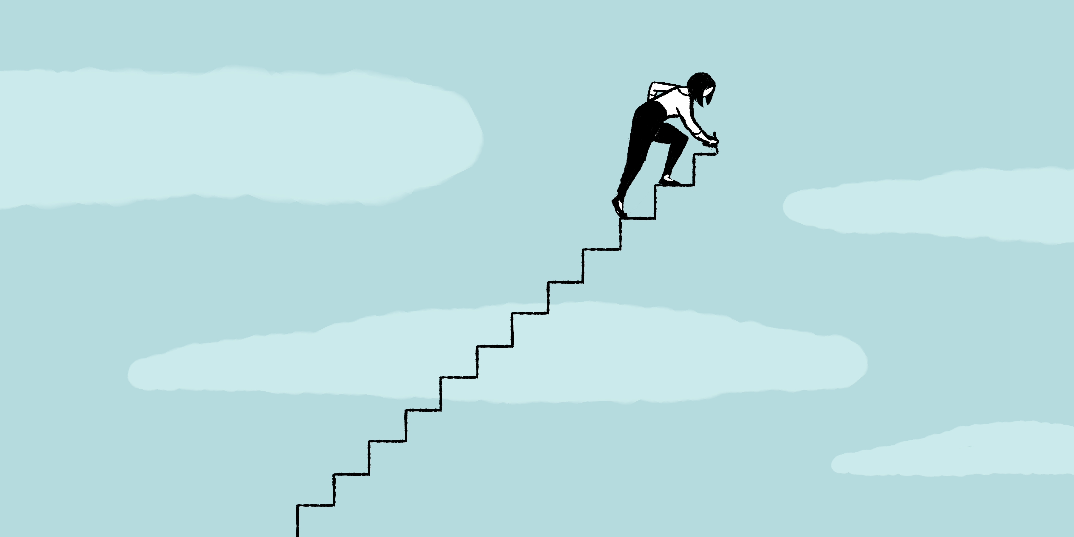 Cartoon woman drawing her way up a set of stairs