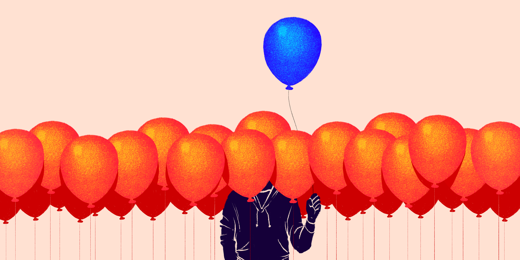 A figure engulfed in a sea of orange balloons, holding a blue balloon above all the rest