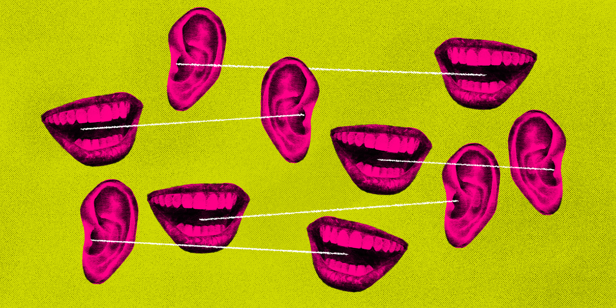 Ear and mouth graphics connected by string