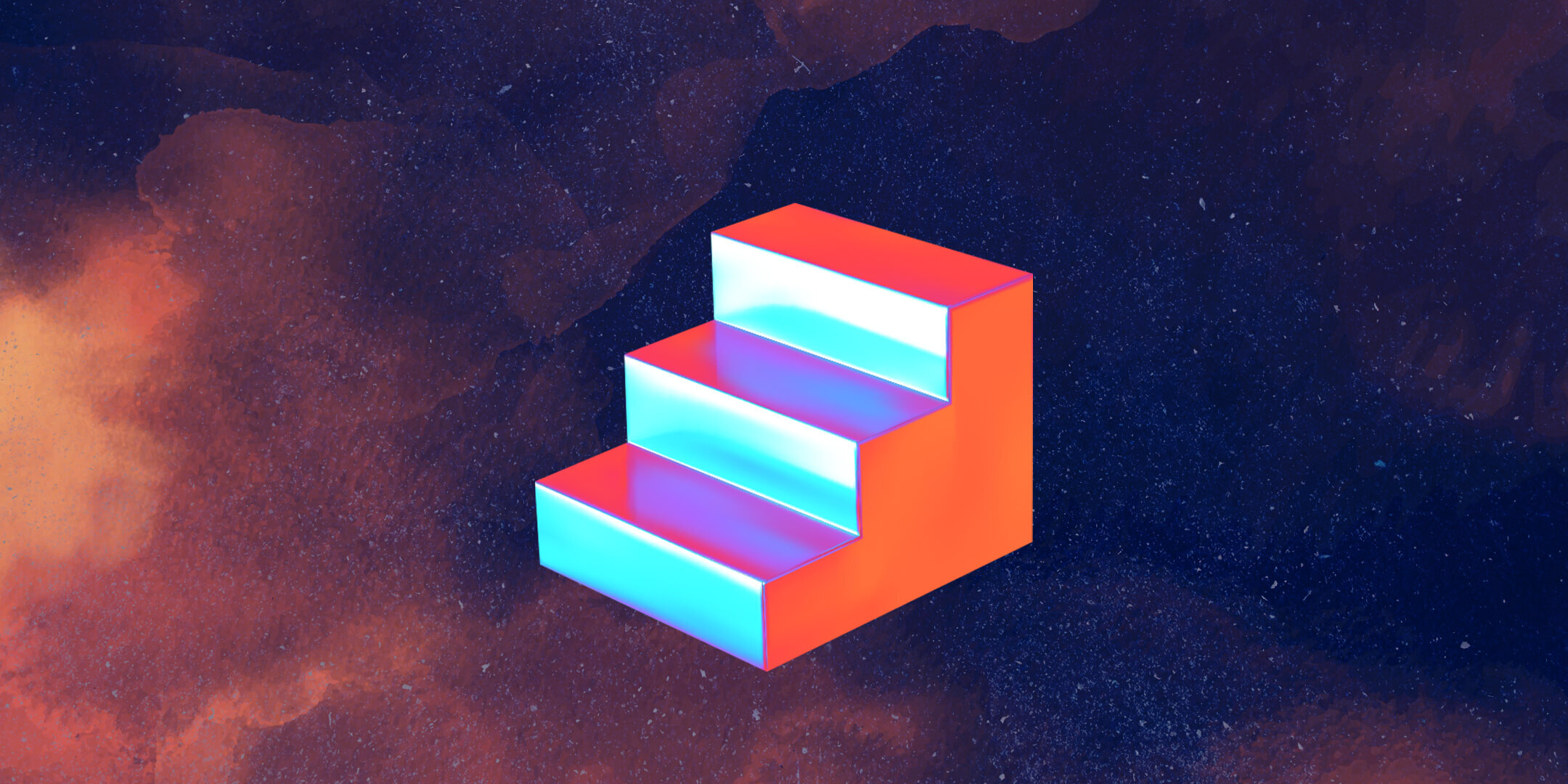 Abstract image of 3 stairs in space