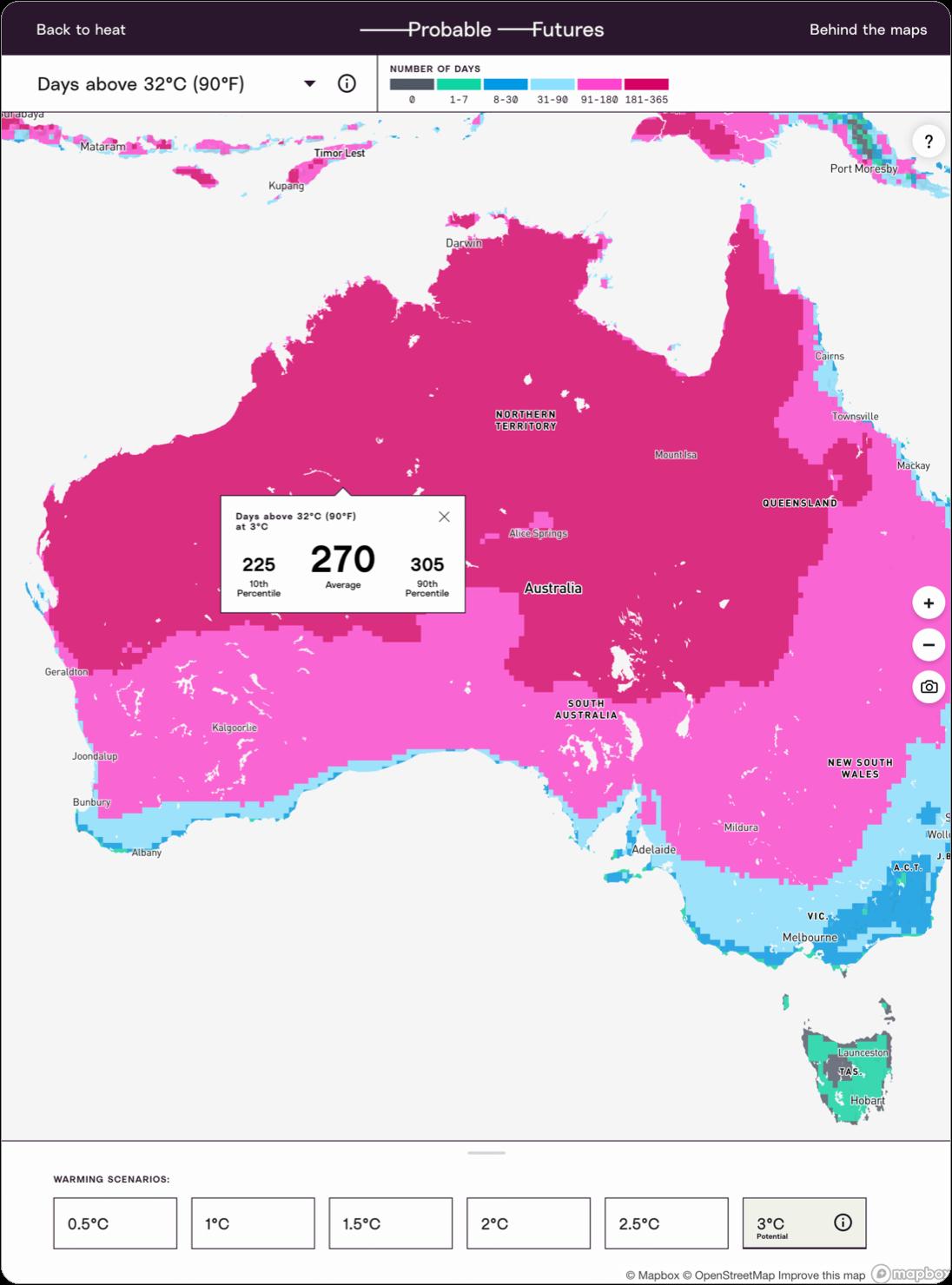 Map of days above 32°C in Australia