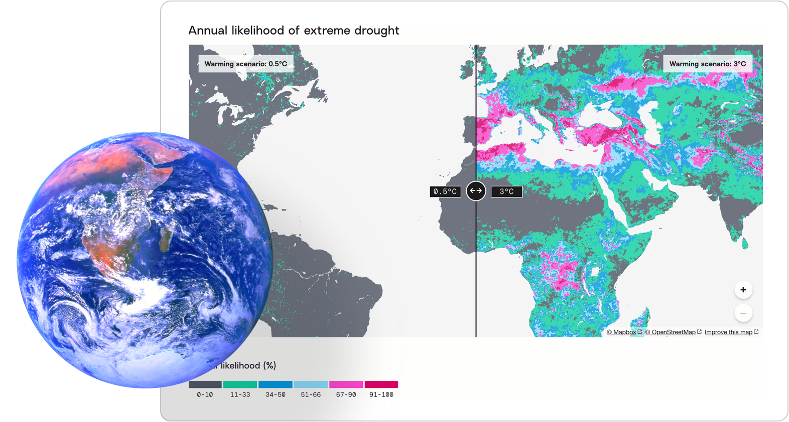 Map of extreme drought on Probable Futures