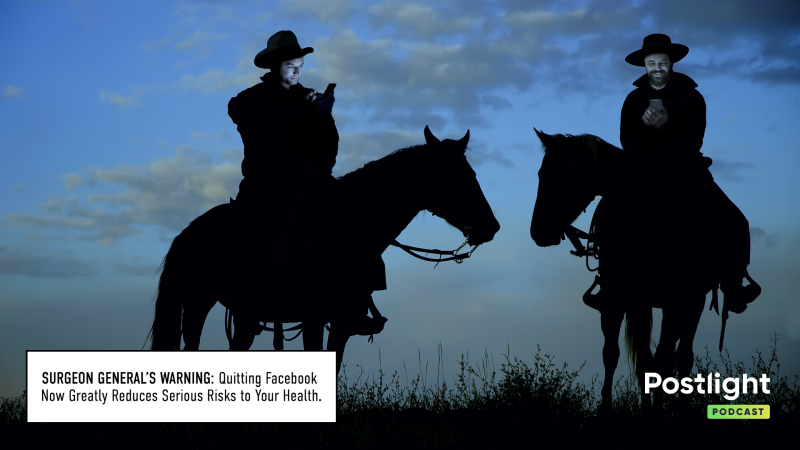 Marlboro man looking at a cell phone instead of cigarettes with a warning that states: Quitting Facebook greatly reduces serious risks to your health